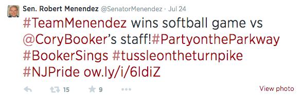 menendez screen shot tweet about game