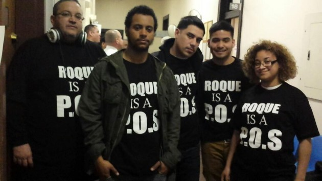 Frank Ferreiro (far left) with then-members of the Residents for a Better West New York at the March 19 board of commissioners meeting.