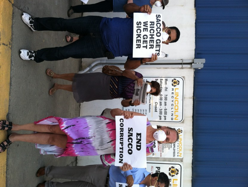 North Bergen residents protest near Lincoln Recycling center on Dell Ave. on Thursday. Katherine Guest/Hudson County View