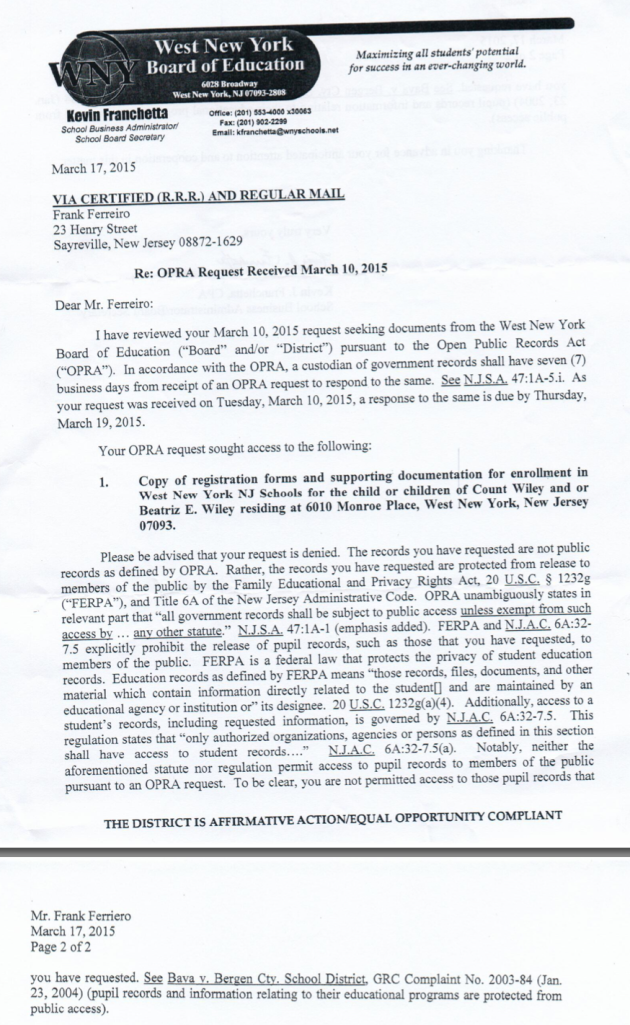 screenshot of the letter