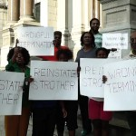 Protest to reinstate ex-Jersey City Rec Director Ryan Strother barely makes noise