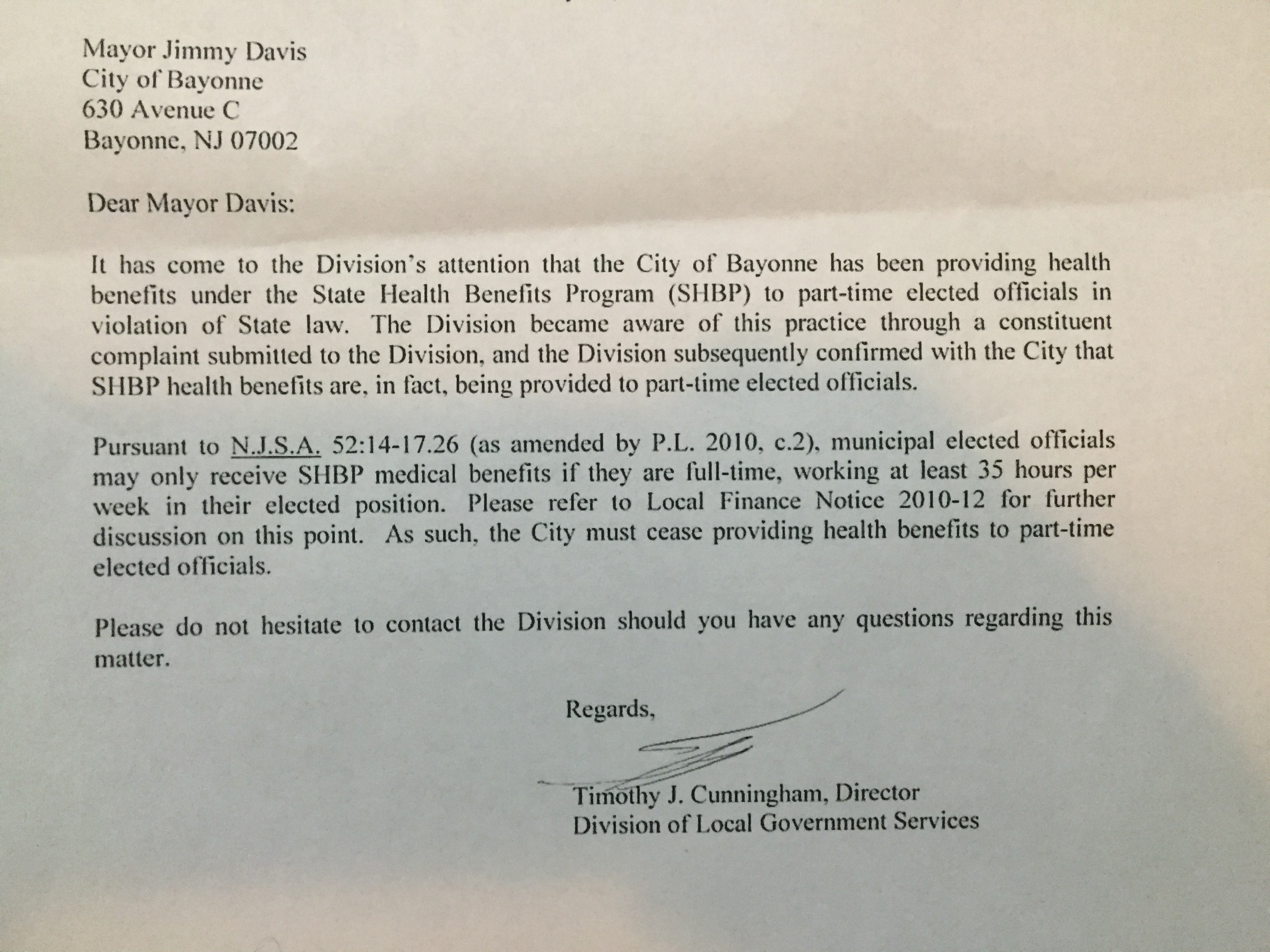 Department of Community Affairs - State of New Jersey (letter)