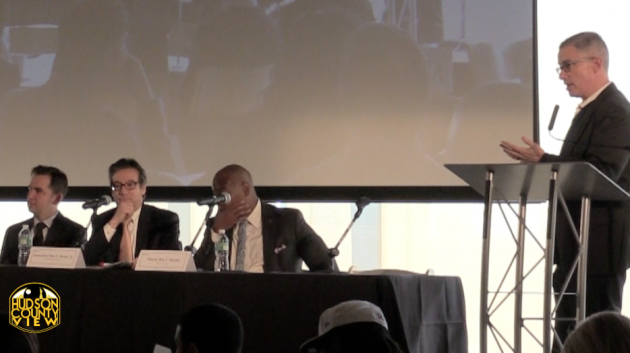 Jersey City Mayor Steven Fulop, far left, and ex-Gov. Jim McGreevey, far right, during a panel discussion at the 3rd annual Prisoner Reentry Conference last week.