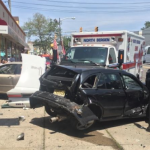 North Bergen ambulance hits 4 parked cars, one collides with building