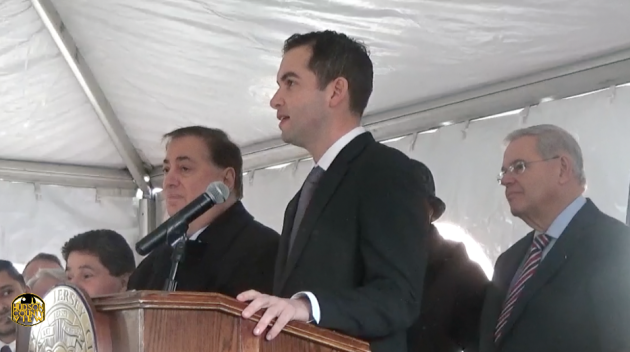 Jersey City Mayor Steven Fulop joins other Hudson County Democrats at a January 5, 2015 press conference urging the Port Authority not to cut PATH service.