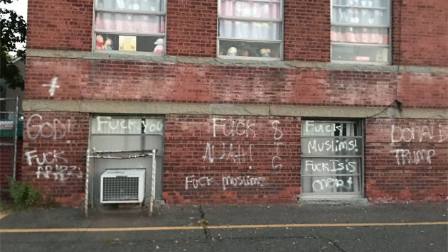 Bayonne graffiti written on the Bayonne Muslim Center early this morning. Photo via Facebook.
