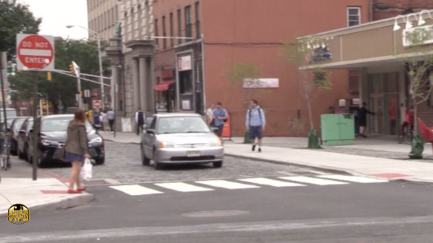 Pedestrians crossing the street near the Newark Street Plaza in Hoboken back on August 1.