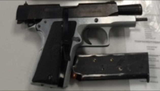 A .45 caliber semi-automatic pistol. Photo courtesy of Port Authority police.