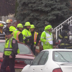 Bayonne first responders team up with PSE&G for gas leak drill in the rain