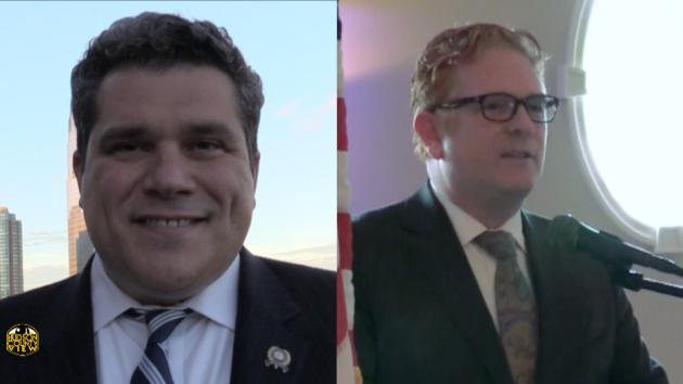 Assemblyman Nick Chiaravalloti (D-31) and Jersey City Education Association President Ron Greco.