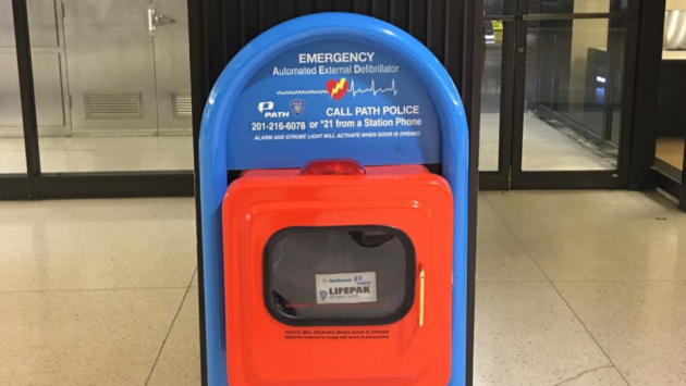 A man was arrested for stealing a defibrillator from the Hoboken PATH station last night. Photo courtesy of Port Authority police.
