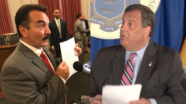 Assembly Speaker Vincent Prieto (D-32, left) and Gov. Chris Christie (R) continue to battle in Trenton over the budget. Photos via Twitter, YouTube.