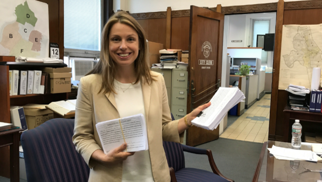 Jersey City Ward E council candidate Rebecca Symes was the first candidate to file petitions for nomination today. Photo courtesy of the Symes campaign.