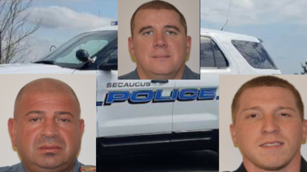 Three Secaucus Police Officers George Sikaffy (left), Jude Masullo and Michael Bronowich (right) saved a two-year-old infant from drowning early this morning. Photos courtesy of Secaucus police.