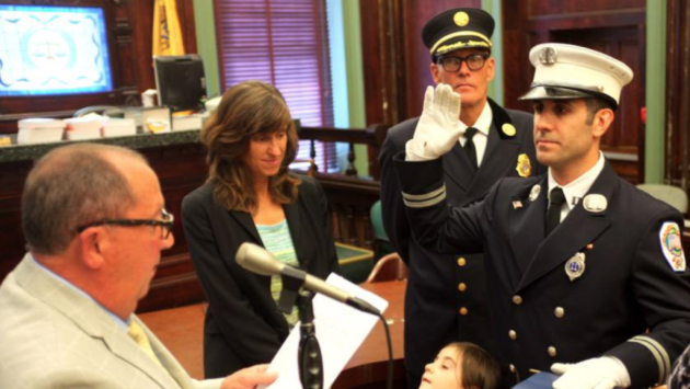Hoboken Battalion Fire Chief Brian Crimmins has been promoted to acting chief. Twitter photo from July 17th, 2015.