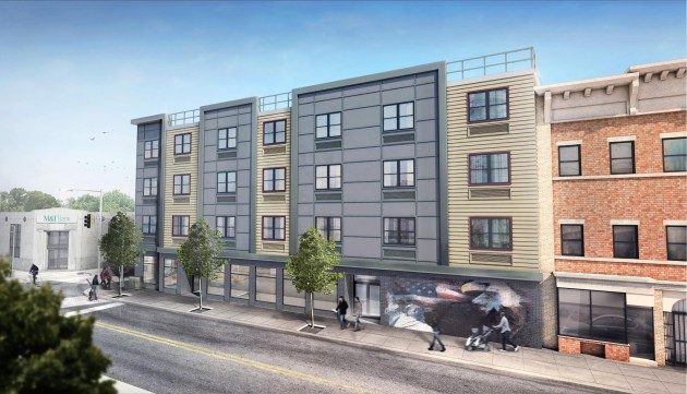 An artist's rendering of the 20-unit veteran housing project on Ocean Avenue in Jersey City. Photo courtesy of Mayor Fulop's office.