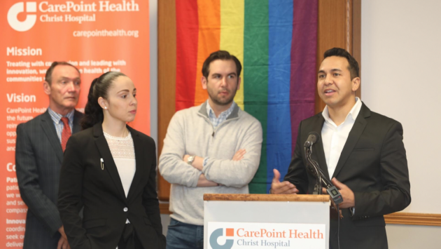 From left to right: Assemblyman Tim Eustace (D-38), Hudson Pride COO Elizabeth Schedl, Jersey City Mayor Steven Fulop and Hudson Pride CEO Michael Billy. Photos via Jennifer Brown of CarePoint Health.