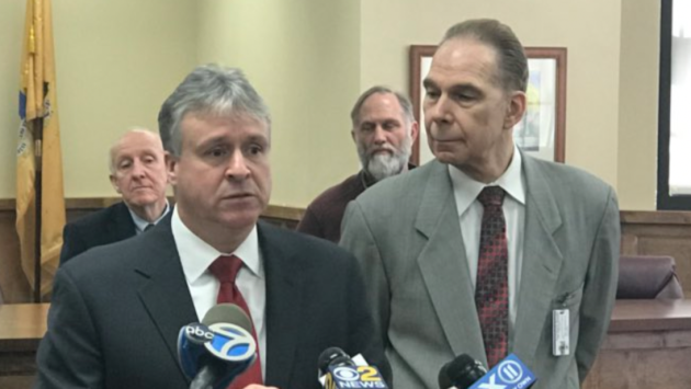Bayonne Mayor Jimmy Davis (left) and Interim Superintendent of Schools Dr. Michael Wanko during a press conference at Bayonne High School this morning. Twitter photo.