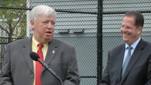 Hudson County Executive Tom DeGise (left) receiving the endorsement of state Senator (D-33)/Union City Mayor Brian Stack in May 2014. Screenshot via YouTube.