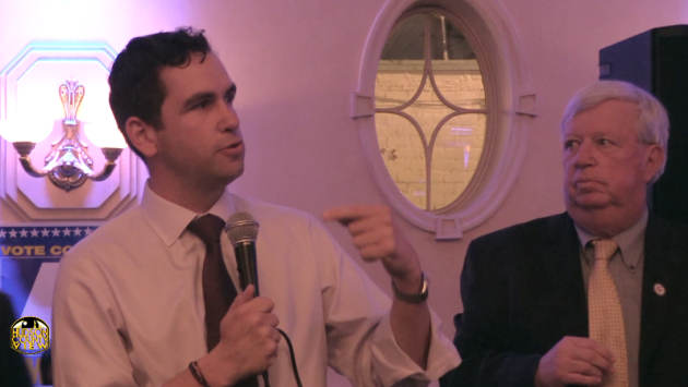 Jersey City Mayor Steven Fulop (left) with Hudson County Executive Tom DeGise at a Hudson County Democratic Organization victory party in June 2015.