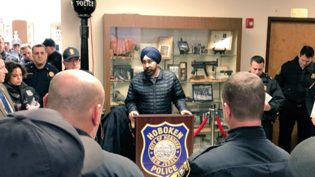 Hoboken Mayor Ravi Bhalla addressing city police during Leprecon on Saturday. Twitter photo.