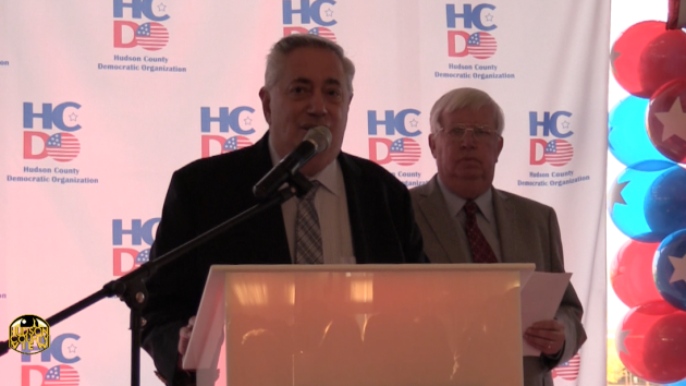 State Senator (D-32)/North Bergen Mayor Nick Sacco (left) with Hudson County Executive Tom DeGise at a Hudson County Democratic Organization fundraiser in 2016.