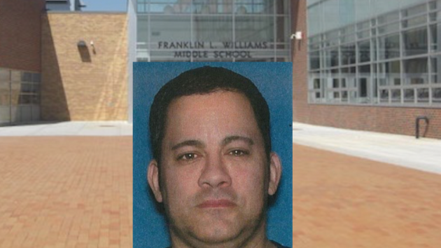 Sean Lora, a teacher at Franklin L. Williams Middle School No. 7 in Jersey City, has been charged with sexual assault. Lora mugshot courtesy of Hudson County Prosecutor's Office, Franklin L. Williams School photo via jcboe.org.