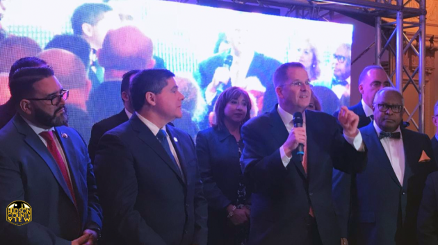 From left to right: Jersey City Councilman-at-Large Daniel Rivera, West New York Mayor Felix Roque, state Senator (D-32)/Union City Mayor Brian Stack, Union City Commissioner/Freeholder (D-6) Tilo Rivas.