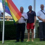 Sacco, Marenco, DeFusco raise the LGBTQ flag at North Bergen Town Hall
