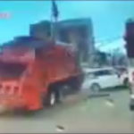 New video shows Union City DPW truck hitting cars before overturning on Route 495