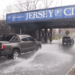 Suez Water tending to 20-inch water main break on Jersey City-Bayonne border