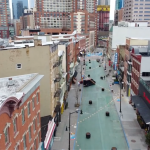 Drone footage shows Newark Avenue in Jersey City almost completely empty due to COVID-19
