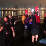 Bayonne Fire Department rescues combative woman who fell into the Newark Bay
